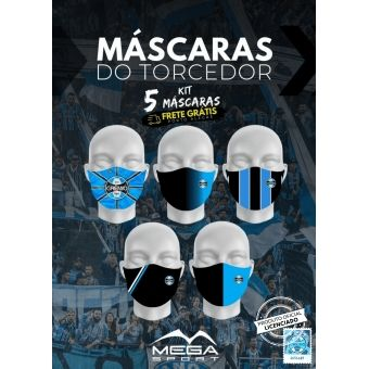 Kit de 5 Máscaras Torcedor Tricolor