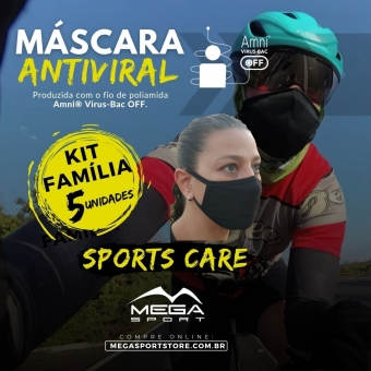 Máscara Esportiva Antiviral - Kit Família - Sports Care